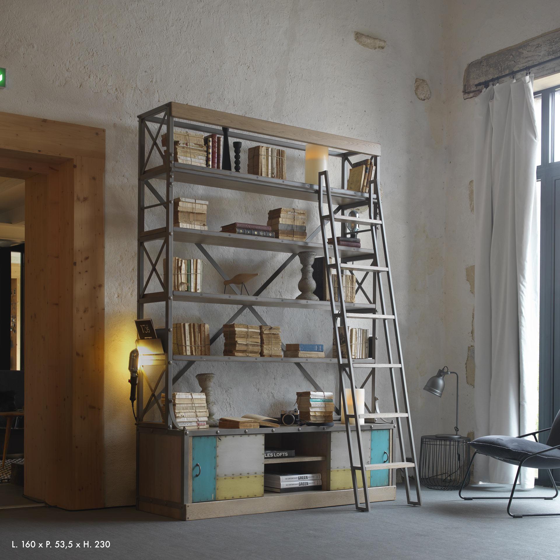 ATEL- Bibliothèque large portes métal