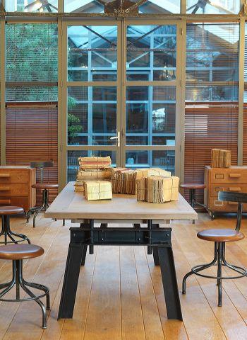 ATEL-Table rectangulaire piétement fer forgé