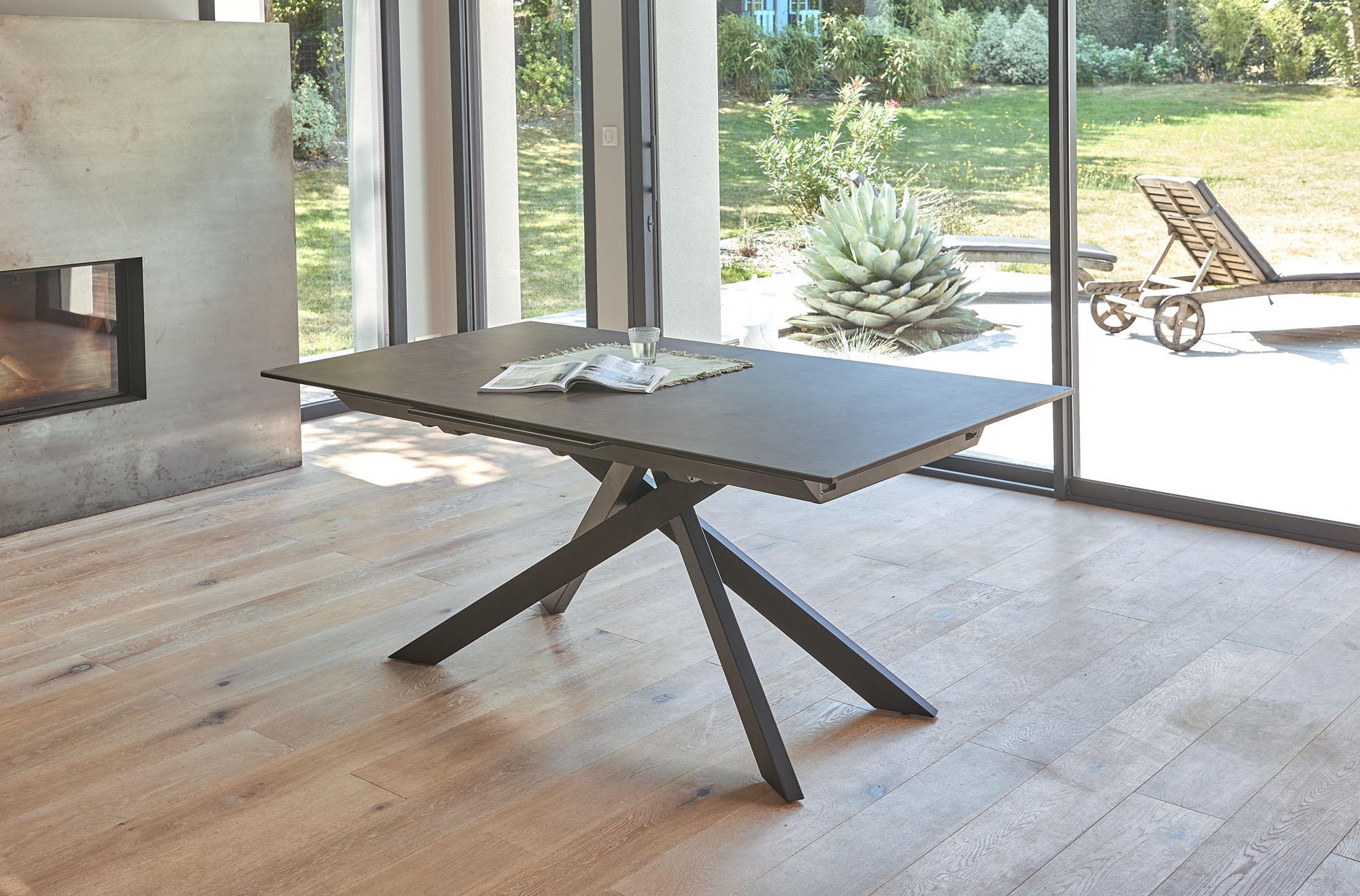 VENDEE- Table céramique rectangulaire 1 allonge
